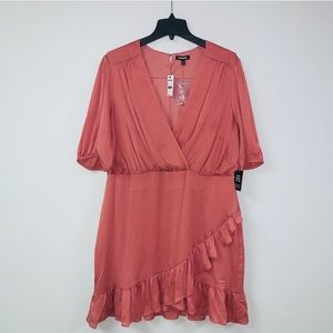 NWT Express Satin Rouched Wrap Front Ruffle Dress